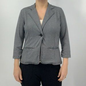 Tulle Striped Gray And Black Knit Blazer Large